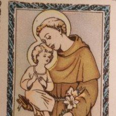 Postales: SANTORAL DEL DIA - SANTO - ESTAMPA O CROMO RELIGIOSA - SAN ANTONIO DE PADUA. Lote 233031238