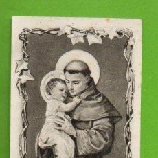 Postales: ANTIGUA ESTAMPILLA RELIGIOSA - ESTAMPA RELIGIÓN - RESPONSORIO A SAN ANTONIO DE PADUA. Lote 115727547