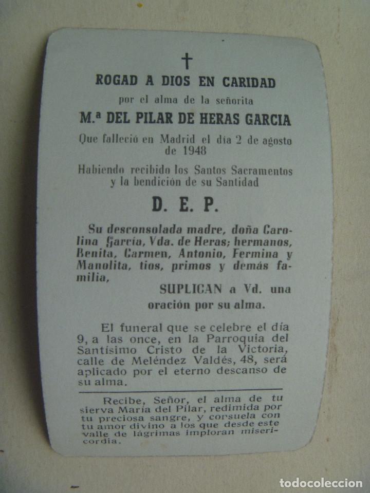 Postales: RECORDATORIO SEÑORITA FALLECIDA EN MADRID EN 1948 - Foto 2 - 115946759