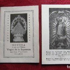 Postales: NOVENA VIRGEN ESPERANZA TOLEDO 1952,36 PAG. Y PEREGRINACION SANTIAGO APOSTOL AL PILAR DE 1973.. Lote 116620839