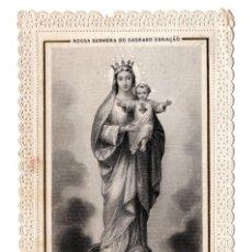Postales: ESTAMPA RELIGIOSA TROQUELADA O DE PUNTILLA, A NUESTRA SEÑORA DEL SAGRADO CORAZÓN. Lote 116756807