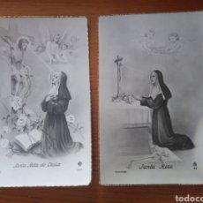 Cartoline: 2 ESTAMPA POSTAL SANTA RITA EDICIONES MB AÑOS 40 /BORDE DORADO. Lote 116772476