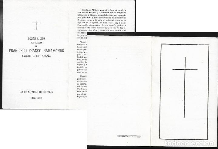 RECORDATORIO DEFUNCIÓN FRANCISCO FRANCO -AÑO 1975 (Postales - Postales Temáticas - Religiosas y Recordatorios)