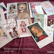 Postales: LOTE DE 16 RECORDATORIOS DE PRIMERA COMUNIÓN AÑOS 1960-1969. Lote 118666839