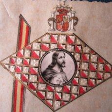 Postales: ESTAMPA PINTADA A MANO, BANDERA, ESCUDO Y CORAZÓN DE JESÚS SALVAD A ESPAÑA AÑOS1930. Lote 118856895