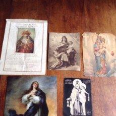 Postales: LOTE DE 4 IMÁGENES DE LA VIRGEN Y REGALO. Lote 118925784