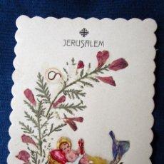 Postales: ANTIGUA ESTAMPA JERUSALÉN FLEURS DE TERRE SAINTE. MANUAL, CARTÓN 11X 7 CM. Lote 118953671