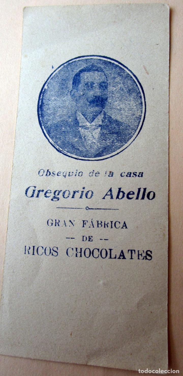 ANTIGUA ESTAMPA RELIGIOSA. OBSEQUIO DE LA CASA GREGORIO ABELLO, GRAN FÁBRICA DE RICOS CHOCOLATES (Postales - Postales Temáticas - Religiosas y Recordatorios)