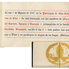 Postales: RECORDATORIO BAUTIZO AÑO 1947. Lote 119404867