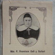 Postales: ANTIGUA ESTAMPA.SUPLICAS.RDO.P.FRANCISCO COLL Y GUITART.VICH. Lote 120963267