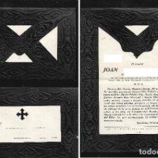 Postales: RECORDATORIO CON SOBRE DEFUNCIÓN IGUALADA 1958. Lote 206892967