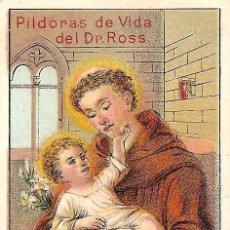 Postales: ESTAMPITA SAN ANTONIO - PUBLICIDAD PILDORAS DE VIDA DEL DR. ROSS. Lote 126030487