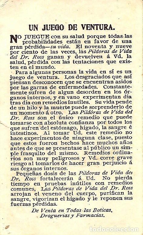 Postales: ESTAMPITA SAN ANTONIO - PUBLICIDAD PILDORAS DE VIDA DEL DR. ROSS - Foto 2 - 126030487