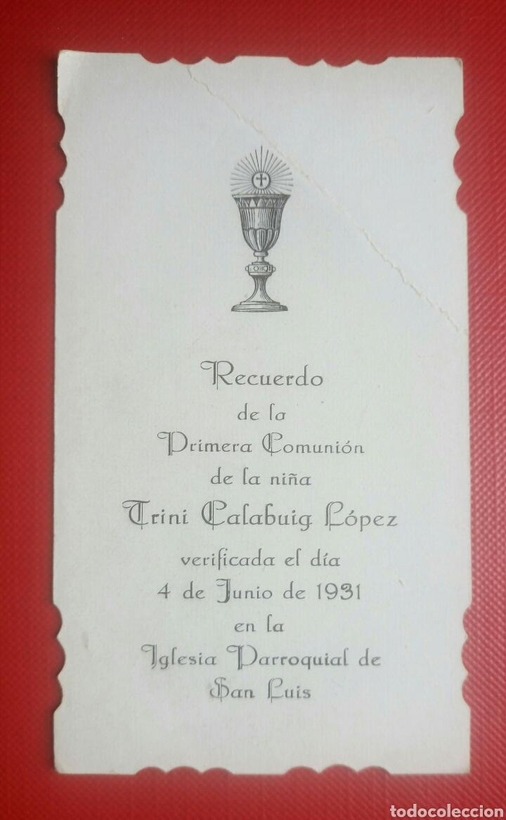 Postales: Estampa recuerdo recordatorio comunion 1931 - Foto 2 - 126696304