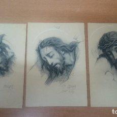 Postales: LOTE 3 POSTALES-ESTAMPAS PINTURAS SANTA FAZ DE CRISTO. Lote 127105387