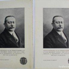 Postales: PR-240. ENRIC PRAT DE LA RIBA. RECORDATORIOS FUNERAL AGOSTO DE 1917. MANCOMUNITAT DE CATALUNYA.(2 ). Lote 128739211