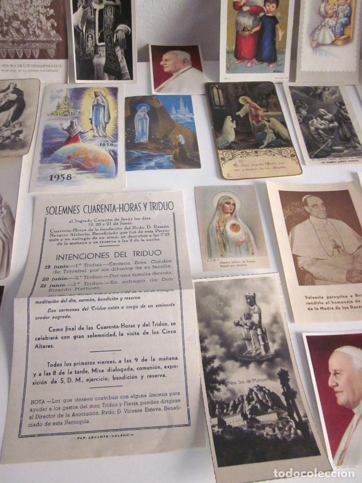 Postales: Lote 35 estampas religiosas varios antiguas Solemnes cultos Valencia Lourdes Vicente Ferrer - Foto 3 - 129953139