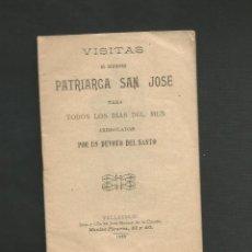 Postales: LIBRITO RELIGIOSO - VISITAS AL GLORIOSO PATRIARCA SAN JOSE - VALLADOLID - DE LA CUESTA 1902. Lote 130885580