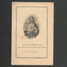 Postales: RECORDATORIO RELIGIOSO - SAGRADO CORAZON DE JESUS. Lote 130886288