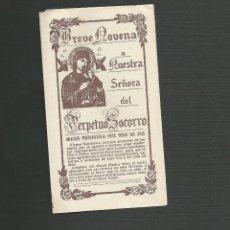 Postales: RECORDATORIO RELIGIOSO - BREVE NOVENA A NUESTRA SEÑORA DEL PERPETUO SOCORRO. Lote 130886384
