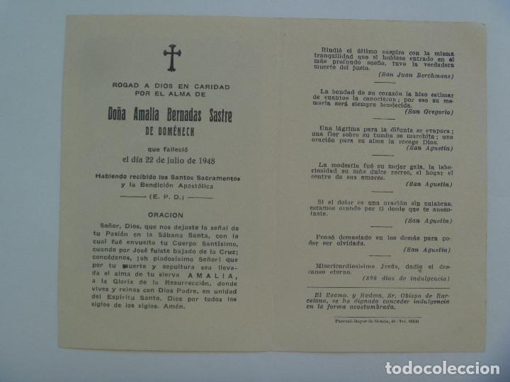 Postales: RECORDATORIO DE SEÑORA VIUDA FALLECIDA EN BARCELONA EN 1948 - Foto 2 - 131330850