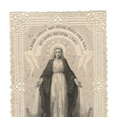 Postales: ESTAMPA RELIGIOSA BORDADA Y CALADA DE LA VIRGEN INMACULADA. Lote 189936998
