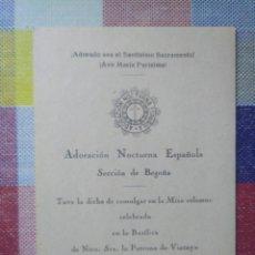 Postales: ADORACIÓN NOCTURNA BILBAO BEGOÑA 1948. Lote 133089102