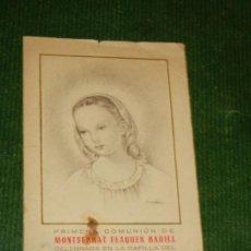 Postales: RECORDATORIO PRIMERA COMUNION - COLEGIO DE JESUS MARIA DE SAN GERVASIO, BARCELONA 1952. Lote 133480690