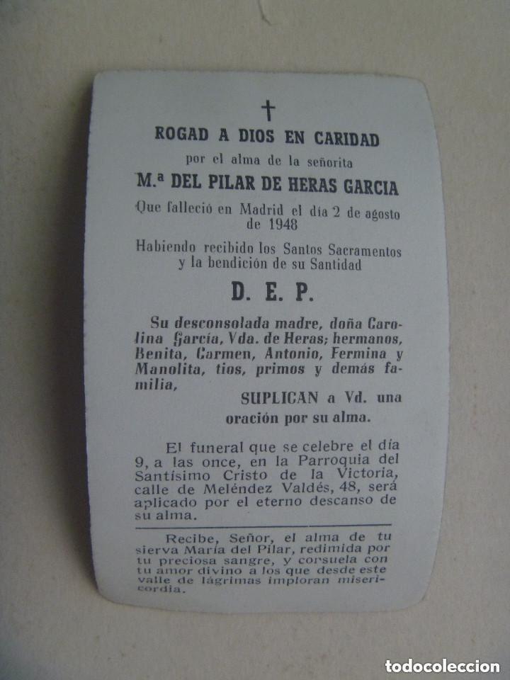 Postales: RECORDATORIO SEÑORITA FALLECIDA EN MADRID EN 1948. - Foto 2 - 133580526