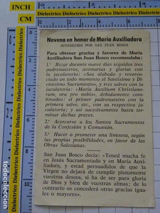 Postales: RECORDATORIO RELIGIOSO SEMANA SANTA. AÑOS 70 80. MARÍA AUXILIADORA NOVENA SAN JUAN BOSCO. 27 - Foto 2 - 133779386