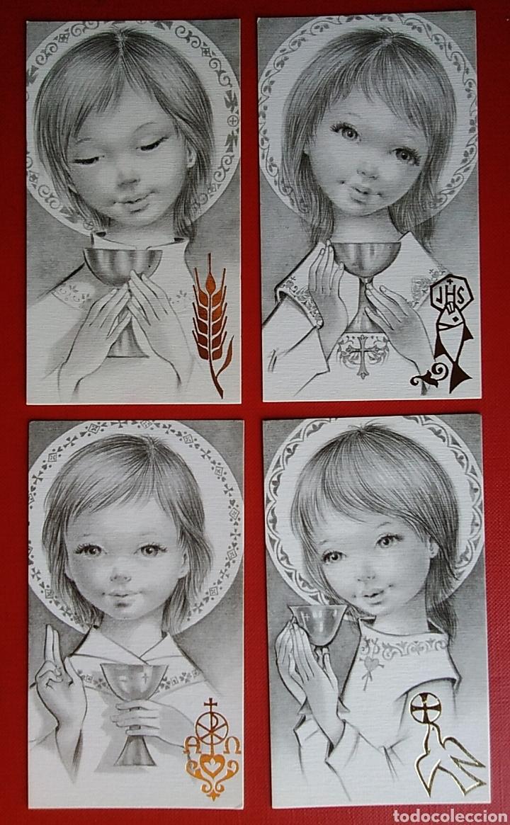 LOTE 4 ESTAMPAS RECUERDO RECORDATORIO COMUNION 1973 VALENCIA (Postales - Postales Temáticas - Religiosas y Recordatorios)