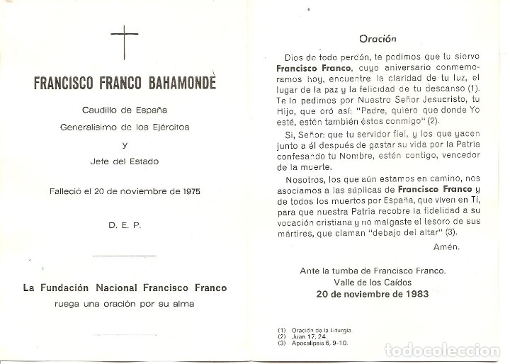 Postales: RECORDATORIO, FRANCISCO FRANCO, FUNDACIÓN NACIONAL FRANCISCO FRANCO, 1983 - Foto 2 - 134415638