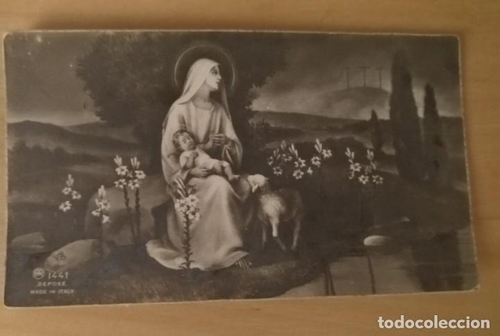 EV 23 ANTIGUA ESTAMPA VIRGEN CON EL NIÑO JESÚS - AR 1441 MADE IN ITALY - 6CM X 10CM (Postales - Postales Temáticas - Religiosas y Recordatorios)