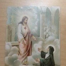 Postales: ESC 9 ANTIGUA ESTAMPA RELIGIOSA TROQUELADA SAGRADO CORAZÓN - AR 116 MADE IN ITALY - 11.30CM X 6.30CM. Lote 134803954
