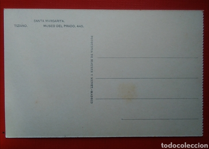 Postales: Postal religiosa antigua Santa margarita tiziano museo del prado 445 - Foto 2 - 134836145