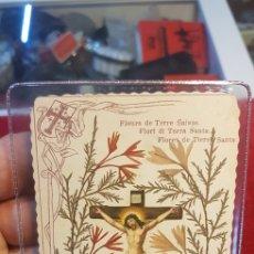 Postales: ESTAMPA RELIGIOSA CON RELIQUIA DE FLORES DE TIERRA SANTA TOCADAS AL SANTO SEPULCRO SOBRE 1900. Lote 135356378