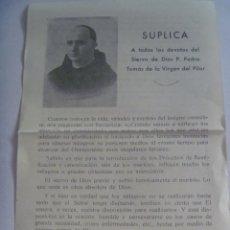 Postales: SUPLICA DEL SIERVO DE DIOS P. PEDRO TOMAS DE LA VIRGEN DEL PILAR. ( ASESINADO EN BARCELONA EN 1936 ). Lote 135513330