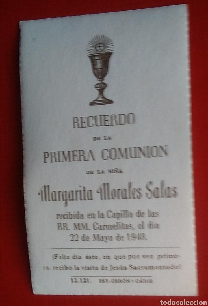 Postales: Estampa recuerdo recordatorio comunion angel 1948 - Foto 2 - 135520359