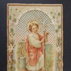 Postales: ANTIGUA ESTAMPA RELIGIOSA TROQUELADA , PUNTILLA - INSPIRETE EJEMPLO NIÑO JESUS AMOR AL TRABAJO. A85. Lote 136125574
