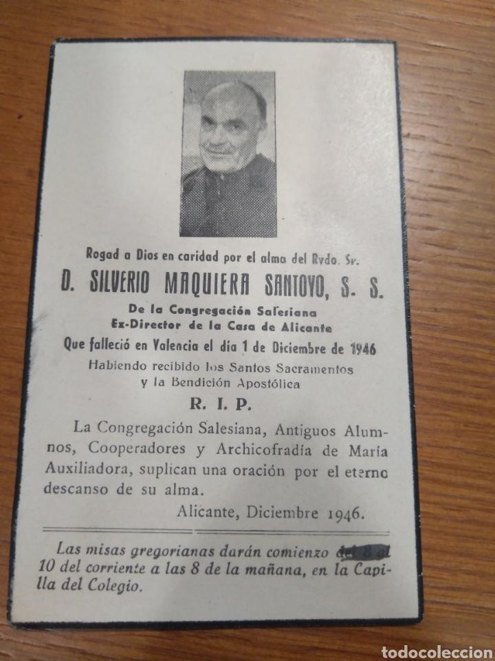 ESQUELA 1946, SALESIANO CASA DE ALICANTE- SILVERIO MAQUEIRA SANTOYO (Postales - Postales Temáticas - Religiosas y Recordatorios)