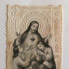 Postales: ESTAMPA CALADA PUNTILLA. GRABADO. TURGIS. SAGRADO CORAZÓN DE JESUS, NIÑOS.. Lote 138595002