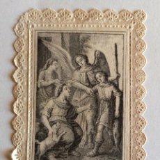 Postales: ESTAMPA CALADA PUNTILLA. GRABADO. SAN RAFAEL ARCÁNGEL. VENERADO EN LA IGLESIA DE SAN MIGUEL.. Lote 182135643
