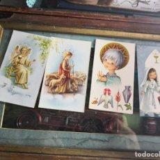 Postales: 4 ANTIGUAS ESTAMPAS RELIGIOSA-RECUERDO PRIMERA COMUNIÓN. Lote 139270706