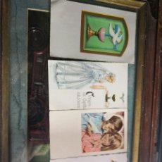 Postales: 4 ANTIGUAS ESTAMPAS RELIGIOSA-RECUERDO PRIMERA COMUNIÓN. Lote 139271422