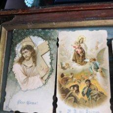 Postales: 2 ESTAMPAS , POSTAL, RECORDATORIO ANTIGUA RELIGIOSA TROQUELADA. Lote 139272410