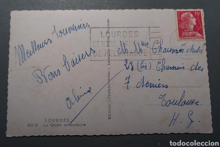 Postales: Postal Francia Lourdes la gruta milagrosa escrita 1955 - Foto 2 - 139621400