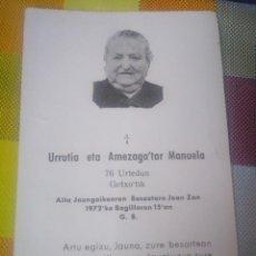 Postales: RECORDATORIO EUSKERA EN EL FRANQUISMO 1972 GETXO VIZCAYA. Lote 140465610