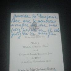 Postales: RECORDATORIO HIJAS DE MARÍA. COLEGIO SAGRADO CORAZÓN BILBAO 1946. Lote 140662930