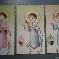 Postales: LOTE 3 ESTAMPAS RECUERDO RECORDATORIO COMUNION ILUSTRA NURIA BARO. Lote 140949382