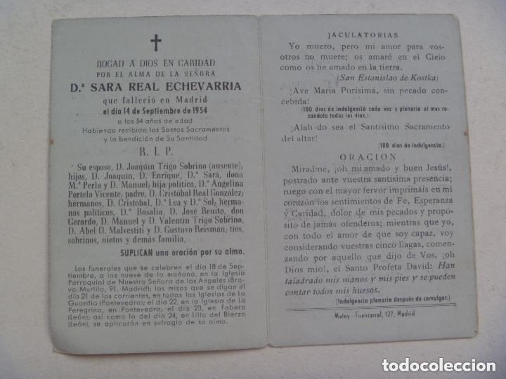 Postales: RECORDATORIO DE SEÑORA FALLECIDA EN 1954 EN MADRID - Foto 2 - 140954714